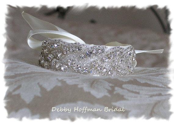 Wedding - Bridal Cuff Bracelet, Beaded Rhinestone Crystal Cuff Bracelet, Wedding Bracelet, Bridal Party -  No. 3010CB,  Wedding Jewelry, Bridesmaid