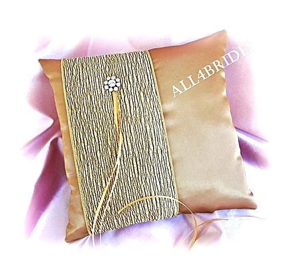 زفاف - Weddings, Gold Ring Bearer Pillow, Gold Satin Ring Cushion.