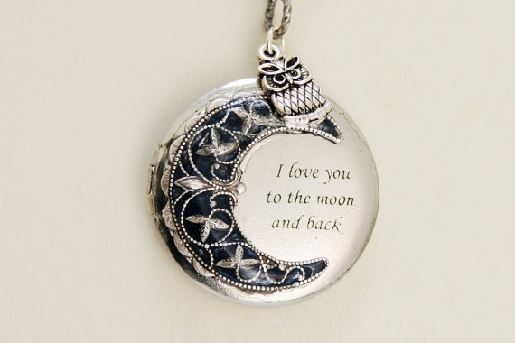 Mariage - Locket,Owl Locket,Moonlight Owl,Silver locket-I love you to the moon and back ,Jewelry Gift, Bridesmaid Necklace,Wedding Necklace