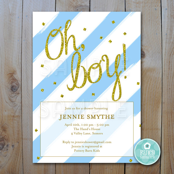 picture relating to Baby Shower Printable Invitations called Glitter Youngster Shower Invitation / Blue And Gold Glitter