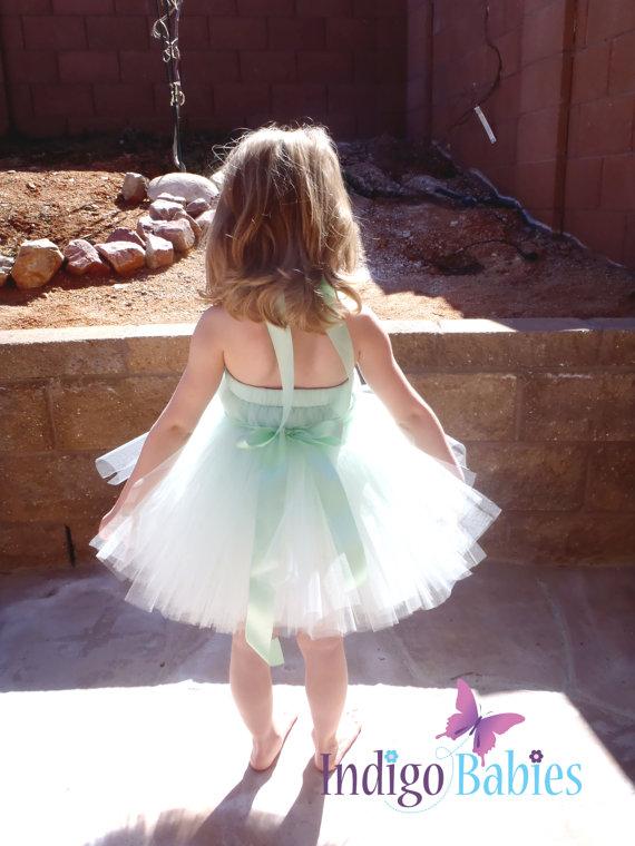 Mariage - Flower Girl Dresses, Tutu Dress, Mint Green Tulle, Mint Satin Ribbon, Pink Rose, Flowergirl Dress, Portrait Dress, Wedding Flower Girl Dress