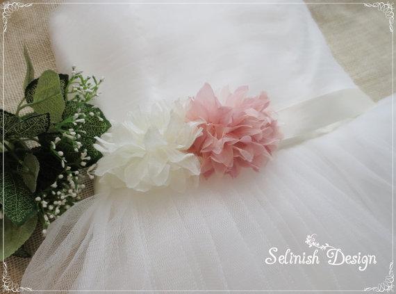 Mariage - Flower Sash Belt, Bridal  Floral Sash, Ivory Pink Sash, Dress Sash