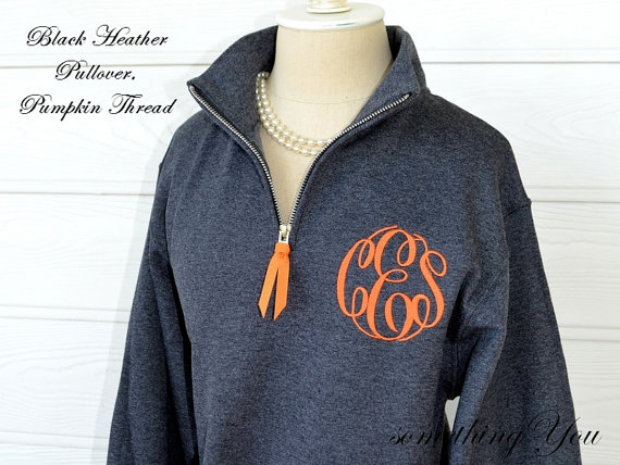 Personalized pullover with quarter zipper monogrammed pullover with