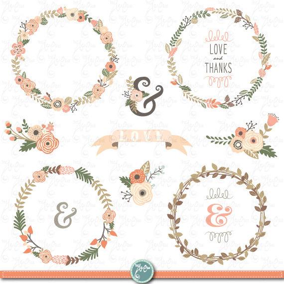Wreath Clip Art WEDDING FLOWER WREATH ClipartVintage Flowers Flower Frames Wedding WreathWreathWedding Invitation Wd085