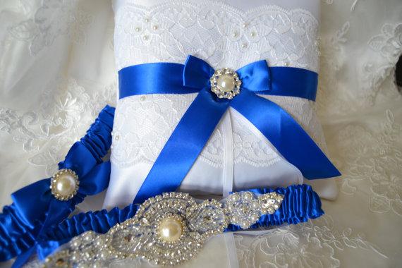 Wedding - Wedding Garter Set Ring Pillow With Royal Blue Garter Set