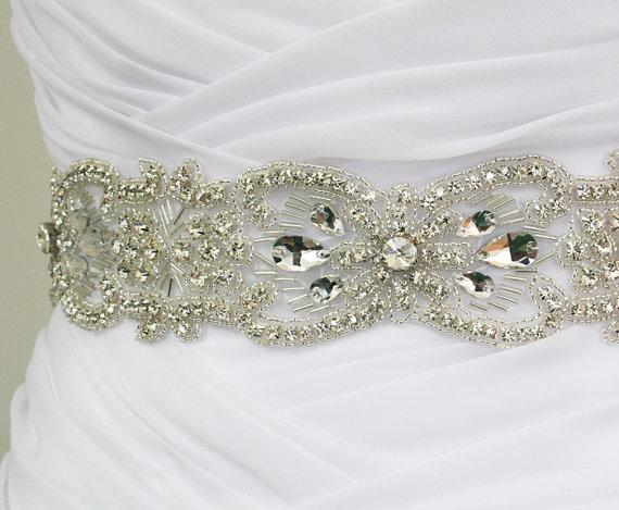 Mariage - LAYLA - Vintage Inspired Flower Crystal Rhinestone Bridal Beaded Sash Belt, Wedding Dress Sash