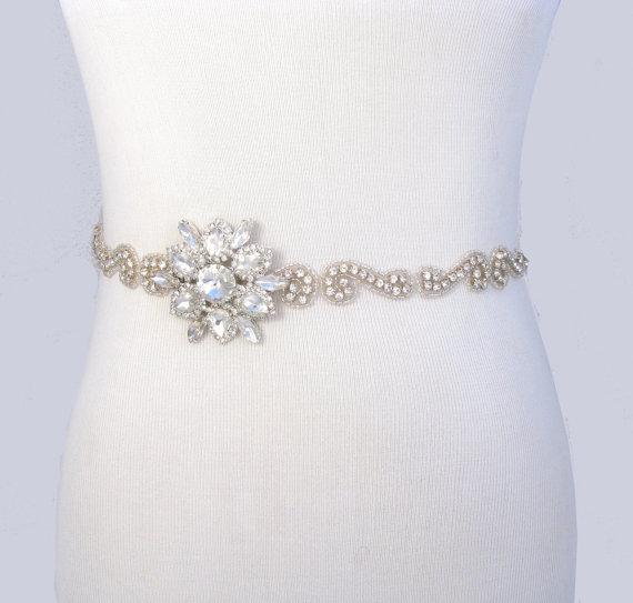 زفاف - Crystal Satin Sash, Rhinestone Bridal Belt, Jeweled Wedding Dress Sash, Silver Gown Belt, 35 Satin Ribbon Options / Blue / Peach / Coral