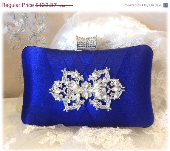 Mariage - wedding clutch, formal clutch, Royal blue clutch, evening bag, bridesmaid clutch, bridesmaid bag, crystal clutch