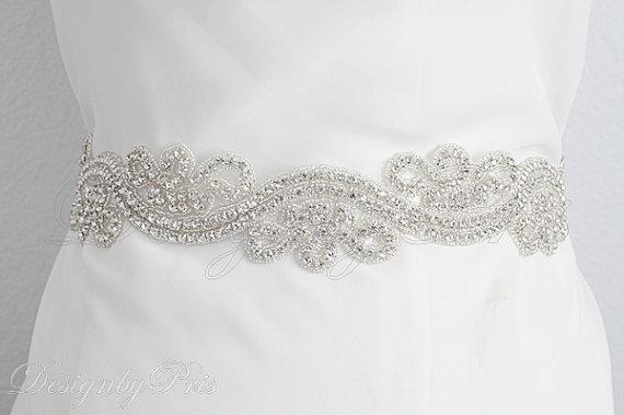 Mariage - Sash2 - Bridal Sash. Bridal Rhinestone Ribbon Sash.Wedding Sash. Bridal Accessories.Dress Sash White/Ivory Ribbon