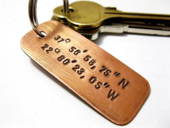 Свадьба - Personalized Copper Latitude Longitude Key Chain, Handstamped Message Names Date Initials Coordinates - Men Family Boyfriend Groomsmen Gift