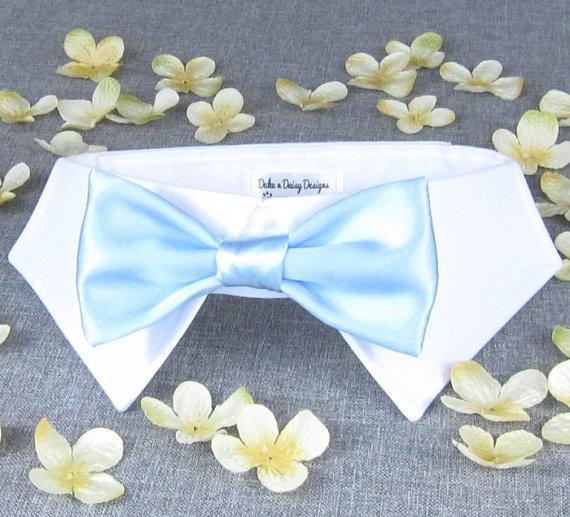 Свадьба - Baby Blue Wedding Dog Bowtie- Dog Bow Tie, Wedding Dog Collar, Dog Ring Bearer, Light Blue Wedding Pets