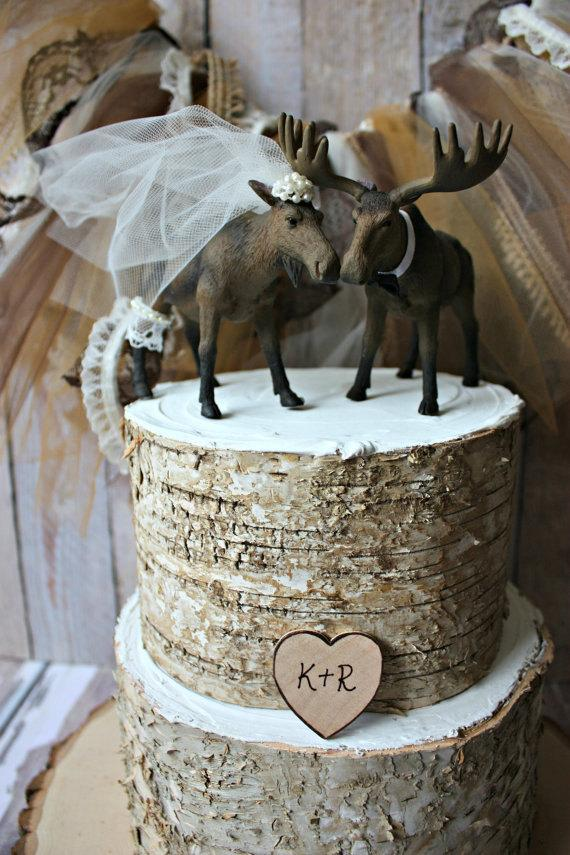 Moose Wedding Cake Topper Alaskan Rustic Hunting