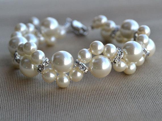 Свадьба - Ivory pearl Bracelet,Glass Pearl Bracelet,Pearl  Flower Bracelet,Wedding Bracelet,Crystal bracelet,Bridesmaid Bracelet,Jewelry
