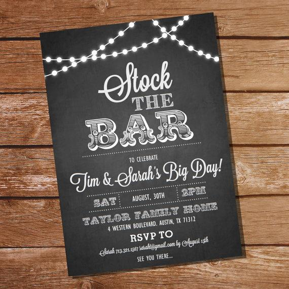 Свадьба - Chalkboard Stock The Bar Engagement Party Invitation  - Stock The Bar Invitation - Instant Download + Edit and Print with Adobe Reader