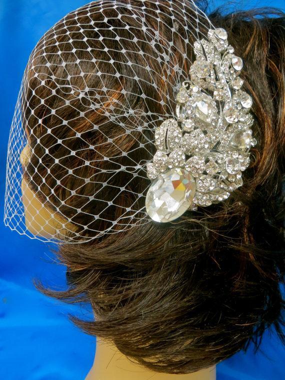 زفاف - Bandeau Birdcage Veil, Wedding Blusher Veil, Rhinestone Bridal Veil