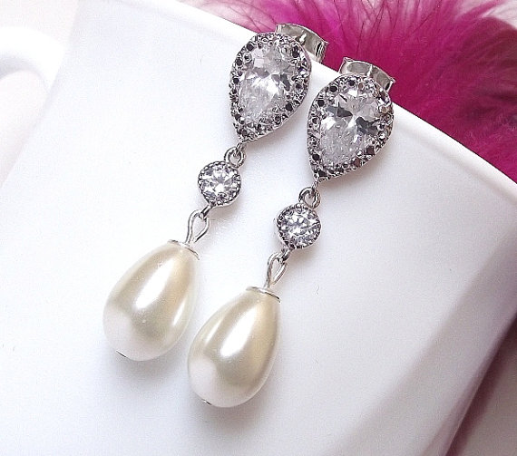 Bridal Earrings Cubic Zirconia Pearl Wedding Ivory White Drop Jewelry Earings Set