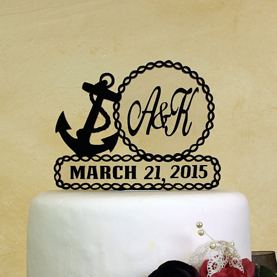 Wedding - Nautical theme wedding cake topper personalized in your Initials and wedding date includes display base by Distinctly Inspired (style NR-2D)