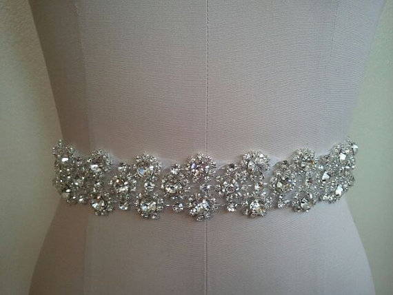 Wedding belt bridal belt sash belt crystal rhinestone for Rhinestone sash for wedding dress