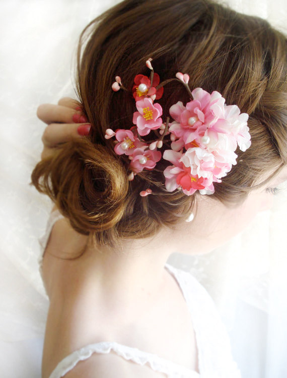 Wedding - hot pink bridal hair accessories -  cherry blossom hair clip
