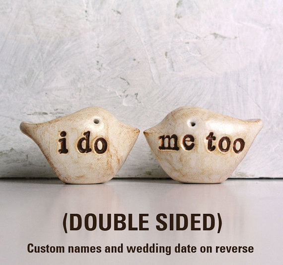 Hochzeit - Wedding cake topper...Love birds... DOUBLE SIDED... i do, me too on one side, PERSONALIZED names and wedding date on the other