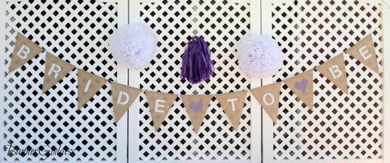 Свадьба - Bride To Be Burlap Banner - Wedding Decor - Ceremony - Wedding - Banner - Burlap Bunting -Bridal Shower