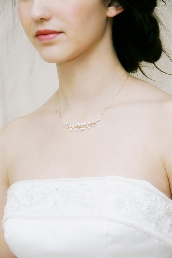 Mariage - Wedding Jewelry Freshwater Pearl and Crystal Delicate Bridal Necklace by Virginiageigerjewels