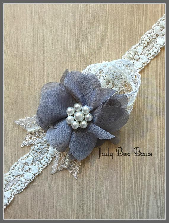 Hochzeit - Grey Flower Headband, Bridal Accessory, Baptism Headband, Dedication Headband, Flower Girl Accessory, Flower Girl, Wedding Hair Piece