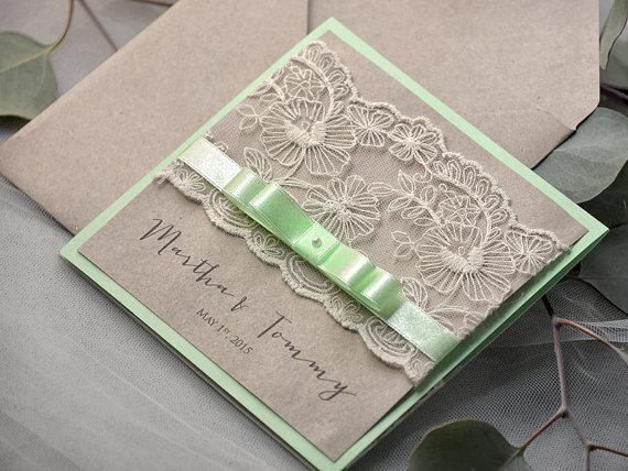 زفاف - Eco Lace Wedding Invitation -  Pocket Fold  Invitations