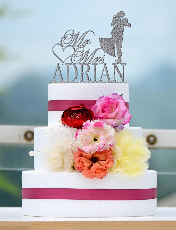 زفاف - Wedding Cake Topper Monogram Mr and Mrs cake Topper Design Personalized with YOUR Last Name 039