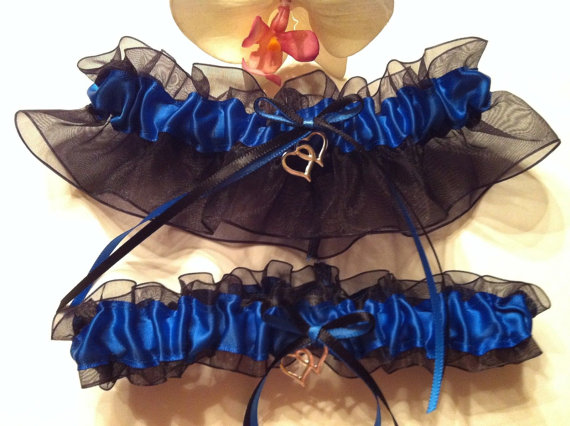 زفاف - Royal Blue & Black Wedding Bridal Garter Set ~ Something Blue Garter