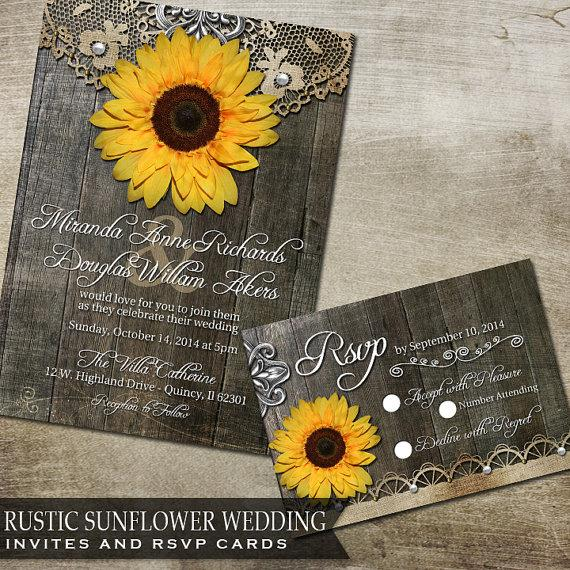 Rustic Sunflower Wedding Invitation And RSVP Reply Card - Printable ...