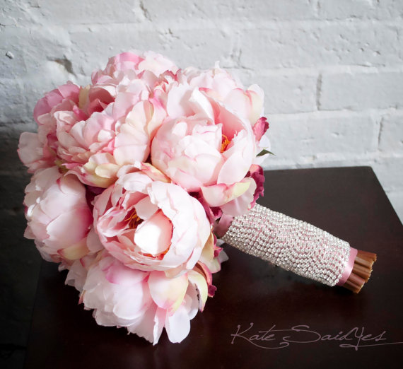 Mariage - Blush Pink Peony Bouquet with Rhinestone Handle - Peony Wedding Bouquet