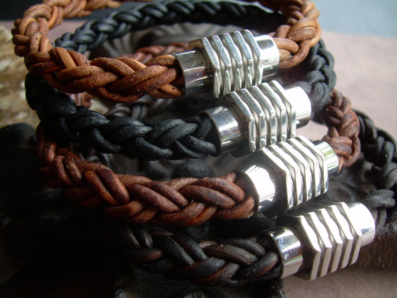 Свадьба - Mens Thick Braided Leather Bracelet with a Large Stainless Steel Magnetic Clasp, Fathers Day Gift, Mens Bracelet, Mens Jewelry, Groomsmen