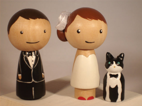 Wedding - New Pet Topper Wedding Topper with One  Pet Custom Kokeshi Wedding Cake Topper Kokeshi Doll Wedding Toppers Custom Cake Toppers