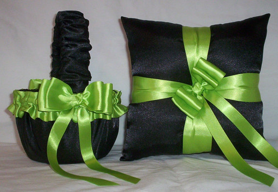 Black Satin With Le Green Lime Ribbon Trim Flower Basket And Ring Bearer Pillow