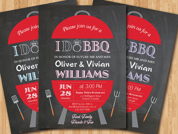 I Do Bbq Wedding Invitation Chalkboard Backyard Invite Pink Tiffany Blue Purple Red Any Color Barbecue Out Printable Digital Diy