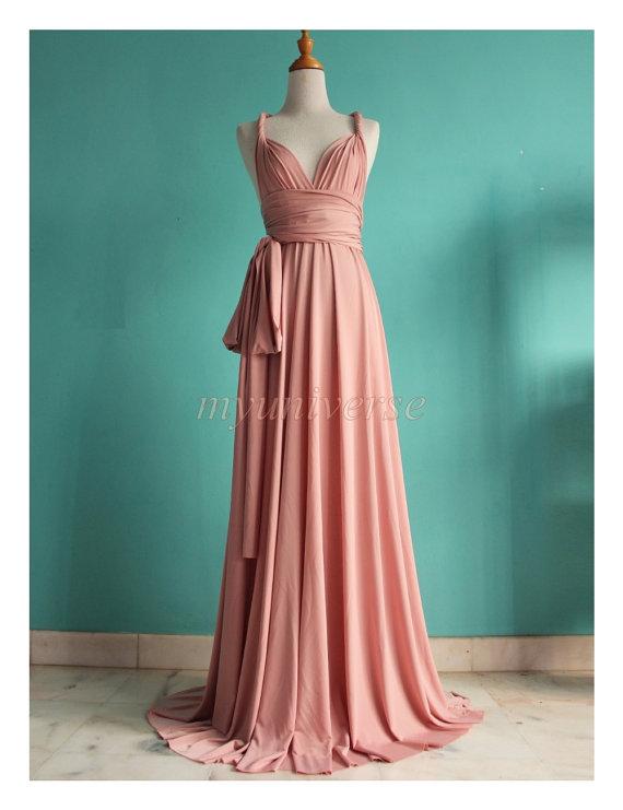 Dusty Pink Wedding Bridesmaid Dress Wrap Convertible Dress Peach ...