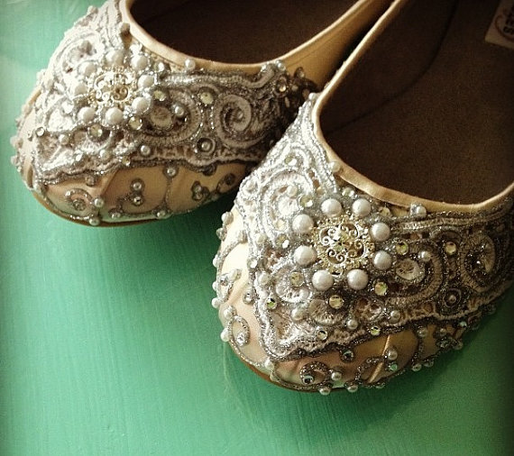 Mariage - Marrakesh Lace Bridal Ballet Flats Wedding Shoes - All Full Sizes - Pick your own shoe color and crystal color