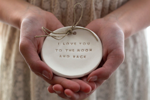 I Love You To The Moon And Back Ring Bearer Pillow Alternative Wedding Dish