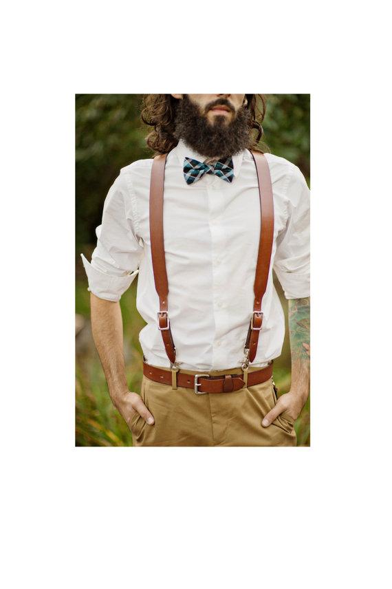 Свадьба - 2 Piece Set:  Brown Leather Suspender & Belt for Groom / Groomsmen
