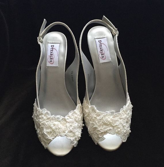 Mariage - COLEEN - Lace Peep Toe Wedge Heel Wedding Shoes