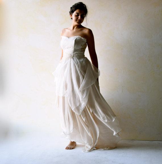 f3441d7191 Boho Wedding Dress, Alternative Wedding Gown, Strapless wedding dress,  Fairy wedding dress, Beach Wedding dress, Backless wedding dress