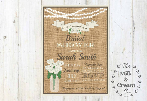 rustic burlap hydrangea mason jar string lights bridal shower, Wedding invitations