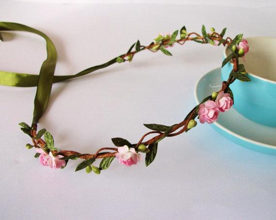 Wedding - Pink Woodland Paper Rose Green Leaf Berry Vine Flower Crown - Floral Headband, Floral Crown, Festival, Floral Wreath, Wedding, Bridal