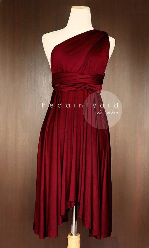 Mariage - Wine Red Bridesmaid Convertible Dress Infinity Dress Multiway Dress Wrap Dress Wedding Dress