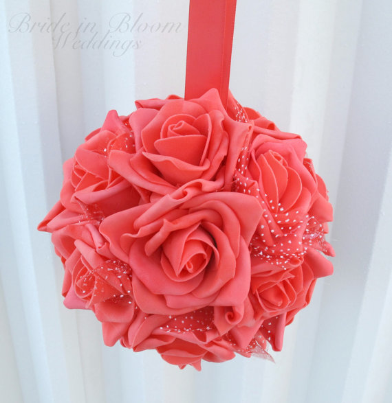 Wedding Flower Balls Coral Foam Rose Girl Pomander