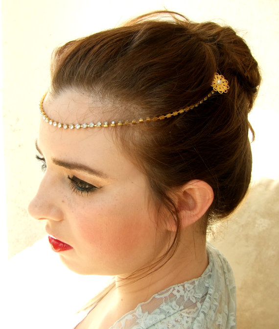 Свадьба - Gold Crystal headband ,Bridal headpiece, Forehead Chain, Wedding Hair Accessories, Gold Headpiece, Hair Jewelry, Bridal Halo
