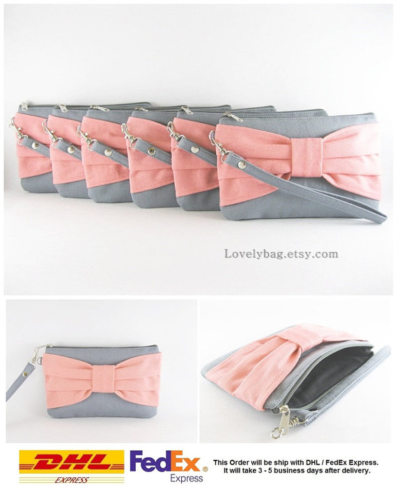 Mariage - SUPER SALE - Set of 8 Gray with Peach Bow Clutches - Bridal Clutches, Bridesmaid Clutch, Bridesmaid Wristlet, Wedding Gift - Made To Order