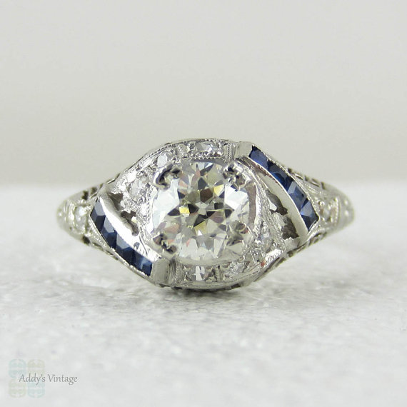 Hochzeit - Art Deco Platinum Filigree Engagement Ring. Circa 1920s Diamond & Sapphire Engagement Ring.