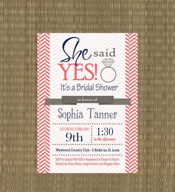 Wedding - Printable Wedding Shower Invitations - Coral and Navy Chevron Bridal Shower Invites - Bridal Shower Engagement Ring Shower